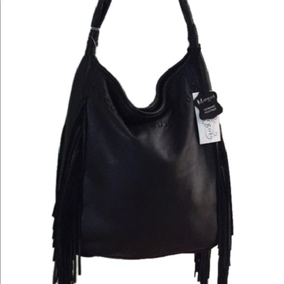 82fb684f45 Margot black leather fringe hobo bag